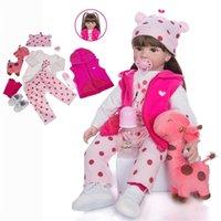 تولد من جديد الطفل واقعية 22 بوصة 55 سنتيمتر فتاة الوردي الأميرة الشتاء الملابس هدية عيد أفخم لعب الأطفال زميل اللعب فاتنة boneca لطيف