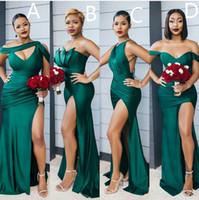 2021 сексуальная сторона сплит русалка выпускные платья Темно-зеленый атлас без рукавов длинное платье подружек невесты особое случаи платья специального случая PageNt