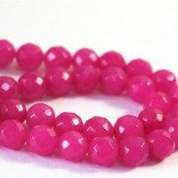 기타 3 스타일의 자연석 염색 핑크 레드 옥 chalcedony면 처리 된 라운드 느슨한 구슬 4 6 8 10 12mm DIY 쥬얼리 15inch B07 만들기