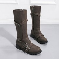 Mode mi-veau Bottes pour femmes avec boucle de ceinture Bottes pour femmes automne hiver romain moto long femmes botas mujer m9fq #