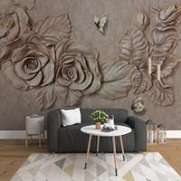 Пользовательские настольные обои для стен 3d стереоскопическая рельефная рельеф роз цветок бабочка декор настенные росписью гостиной диван телевизор фона