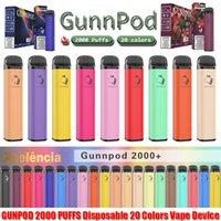 gunnpod 2000 퍼프 미리 채워진 일회용 vape 1250mAh 배터리 전자 담배 deivce 18350 8ml 기화기 스타터 키트 vs elf bar 20 flavs 펜 포드 퍼프 gunpod