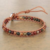 Tennis KELITCH Natural Stone Chakra Beads Wrap Bracelets Bangles With Brown Leather Rope Cuff Retro Trendy Lovers