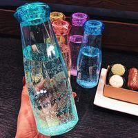 Стекло пропиты, пластичная бутылка для воды мода путешествия кружка спортивные бутылки с водой кемпинг туризм чайник чашка чашки алмазного подарка FY4506