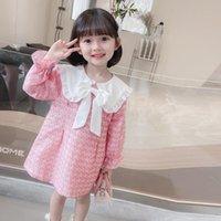 Girl's Dresses Girls Cute Bow Princess Spring Autumn Kids Doll Collar Pink Plaid Dress 3-9 Years Vestidos Children Birthday Clothes