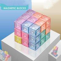 Party Favor Dekompression Zappeln Spielzeug Puzzle Magnetic Cube Magic Blocks Magnet 3x3 Pädagogisches Spielzeug für Kinder Kinder mit Bausteinanzeigekarte