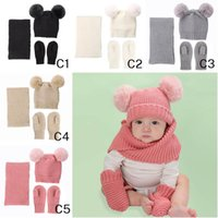 0-36 Months Baby Fashion Wave Knit Pom-Pom Beanie Scarf Glove Sets Lovely Kids Two Balls Solid Warm Hats Scarves Gloves