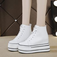Boots 2021 Autumn High Platform Sneakers 10.5CM Heels Women Thick Sole Ankle Leather Wedge Winter Casual Shoes White