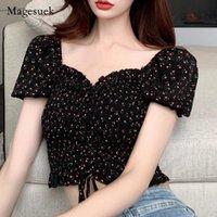 Women's Blouses & Shirts Plus Size Summer 2021 Sweet Women Shirt Slash Neck Off Shoulder Short Tops For Sexy Vintage Floral Slim Blusas 1489