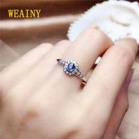 Weaby подлинный натуральный натуральный SRI Lanka Sapphire S925 Стерлинговое кольцо стерлингового серебранского кольца модный модные дамы Blue Gemstone мода поп-кольцо 210310