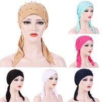 Moda Müslüman Başörtüsü Şapka Ince Yaz Kadın İç Hijut Bonnet Katı Inci Türban Caps Hindistan Baş Wrap Şapkalar Lady Için