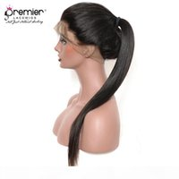 "Premier Full Lace Human Health Wig Brazilian Remy Hair 12-24 ""Yaki Straigt Pré-arrancado Bleach Knots 150% Densidade Perucas de renda humana"