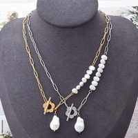 Chains 2021 Stainless Steel Chain Necklace Female Geometric Pearl Pendant Flower OT Word Buckle Clavicle Personalized Jewelry