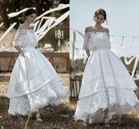 Vintage Wedding Dresses Bridal Gown Off the Shoulder Lace High Low Custom Made Plus Size Satin A Line Tiered Skirt vestido de novia Country 2022 Designer
