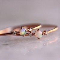 Fedi nuziali Piccola pietra fuoco opale sottile arcobaleno per le donne oro rosa cubico zircone zircone strass strass semplice anel gioielli