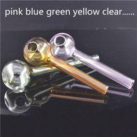 Pyrex 도매 저렴한 4inch 다채로운 핑크 앰버 그린 블루 맑은 유리 오일 버너 파이프 컬러 티치 유리 그레이트 튜브 튜브 네일 팁 파이프