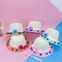 Широкие шляпы Breim Hats летняя шляпа дети девушки большой соломенный тканый солнцезащитный пляж красочный помпом мяч гибкая колпачка кисточка