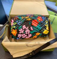 Moda Messenger Çanta ile Renkli Çiçek Baskı Tasarımcısı Zincir Çanta Trendy Mizaç kadın Omuz Çantası WF2103052