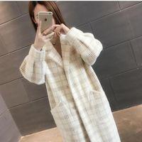 Women's Wool & Blends Mulher Parkas Loose Coat Women 2021 Korean Plaid Fashion Warm Autumn Elegant Big Pocket Long Winter Button Outwear Com