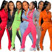 Women's Tracksuits 2021 Fashion Casual Solid Color Sports Suit Two-piece