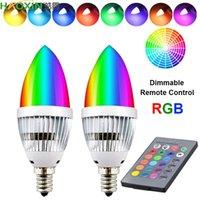 HaoXin E12 E14 E27 Candelabra LED Bulb RGB 3W 16 Color Changeable LED Lamp Candle Light Remote Control Dimmable LED Light Bulbs Home Decor
