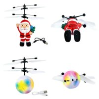 Flyings Toys Christmas gift Santa Flying Ball Luminous Kid's Flight Balls Electronic Infrared Induction Aircraft Remote Control Toy LED Light