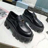 مصمم الأحذية الناعمة جلد البقر المتسكعون منصة المطاط أحذية رياضية سوداء لامعة الجلود شبشب مكتنزة جولة رئيس حذاء سميكة أسفل الحذاء مع مربع حجم 35-40