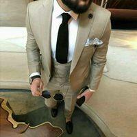 Men's Suits & Blazers Latest Khaki Mens Dinner Ball Costume Tuxedos Bride Groomsmen Wedding Blazer For Men 3pcs (Jacket + Pants Vest)