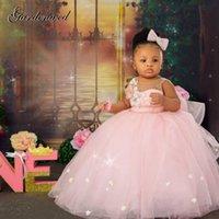 Kabarık Pembe Kız Balo Elbiseler Tül Çiçek Bebek Vaftiz İlk Communion Elbise Yay Düğüm Flower Kız Elbise Kız Gelinlik