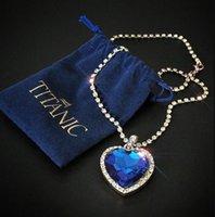 Anhänger Halsketten Titanisches Herz des Ozeans Blaue Liebe für immer Halskette + Samttasche