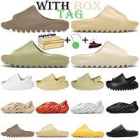 slides kanye west слайд пена бегун сток x chaussures мужчины женщины дети детские тапочки Bone Brown Desert Sand смолы тапочки сандалии кроссовки 26-44