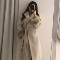 Women's Wool & Blends [EWQ] Woolen Coat Women Middle Long Over The Knee Lace V-neck Collar Solid Overcoat Casual Fashion Tide 2021 Winter GD