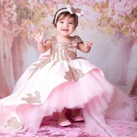 Lovely Baby Toddler Girl's Pageant Dresses with Bow Backless High Low Satin Tulle Ball Gown Princess Birthday Party Gowns Short Sleeves Flower Girls' Wedding Wear