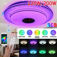 Ceiling Lights 120W 200W 40cm 2 Layer RGB Dimmable Music Lamp Remote&APP Control Light Home Bluetooth Speaker Lighting Fixture