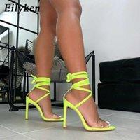 Eillken 2020 Новая мода Флуоресцентные сандалии Braple Brap Braps-ремень Женщина PVC Сандалии 12,5 см Высокие каблуки Вечеринки Сандалии 43 CX200618