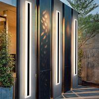 현대 LED 방수 IP65 야외 긴 벽 램프 알루미늄 벽 조명 정원 현관 Sconce 빛 110V 220V 검은 Sconce 등기구