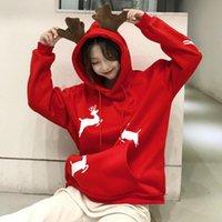 عيد الميلاد الأيائل هوديي kawaii البلوز المرأة الشتاء الدافئ سترة أحمر الكورية نمط البلوفرات المطبوعة الملابس 2021 السنة الجديدة هدية