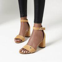Sandalet 2021 Yaz Kadın Sandal Yüksek Topuklu Siyah Ayakkabı Kadınlar Için Yuvarlak Ayak Büyük Boy Kızlar Yüksek Topuklu Bej Büyük Konfor Bloğu Fa