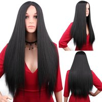 Synthetic Wigs Long Straight Hair Cosplay Wig For Women Natural Black Ombre Color Burgundy Brown White Blonde