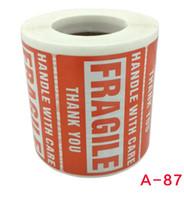 2 '' x 3 '' Autocollants fragiles avec soins AVERTISSEMENT Etiquettes d'expédition Stickers Merci autocollant 500 étiquettes / rouleau
