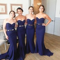 2021 Elegant Mermaid Bridesmaids Dresses Navy Blue Fitted Sweetheart Neckline Sleeveless Wedding Party Guest Gowns Sweep Train Cheap Custom