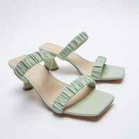 Sandals Women's Shoes In 2021 Summer Green Square Toe Fold Slide Thin High-heeled French Style
