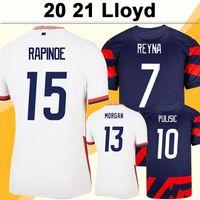 2021 Pulisic Morgan Rapinoe Mens Futebol Jerseys Lloyd Ertz Press Lavelle Davidson Casa Branca Abaixo de Camisa de Futebol Azuis Camisa de Futebol Curto Uniformes de Manga Curta