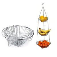 3 طبقات سلك شنقا سلة الفاكهة حامل زهرة تخزين بسيط سهلة سلة نظيفة الحديثة المطبخ المنزل تخزين GWF8213