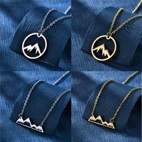 Collares colgantes de acero inoxidable collar de montaña nevado mujeres naturales mujeres amantes esquiadores excursionistas campistas joyería d30 dropship
