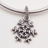Necklaces Sterling Silver Snowflake Bracelets Charm & 925 Bead Cz Fits European Pandora Jewelry Dangle With Clear Uahgb