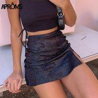 Спенс мягкая атласная сторона сплит черные мини-юбки женские летние цветочные высокие талии a-line короткие юбка женские задние днища молнии 210305