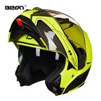 오토바이 헬멧 Beon Motocross 헬멧 Filep Up Double Visor Casco Moto Motorbike Capacete Full Face Racing 4 시즌