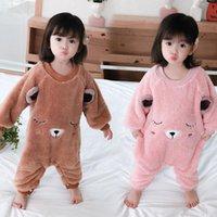 Kinder einteiliger Pyjamas Fall / Winter Coral Fleece Anti-Trus-Schlafsack Jungen und Mädchen Flanell Hautfreundlich Niedlicher Strampler