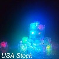 Quadrado LED Cubos de Gelo 7 Cor mudando a luz do brilho para decoração do casamento Vidro de cerveja do partido de Champagne USA Stock